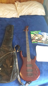 Epiphone Embassy Electric Bass and Treanor Amplifier