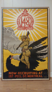 Authentic Antique WWI Wartime Recruiting Poster (Rare)