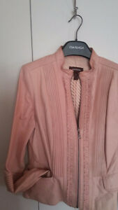 Manteau cuir rose