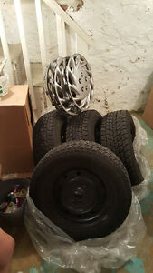 snow/ice tires on rims w/hubcaps Kitchener / Waterloo Kitchener Area image 2