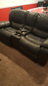 Electric leather recliner couch