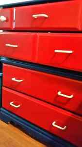 Blue and red dresser