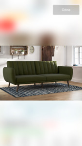 Dark Forest Green Convertible Sofa *Defected* Never been used