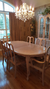 Maple Dining RoomSet/Glass-Mirrored Hutch/6 Chairs /2 leaves