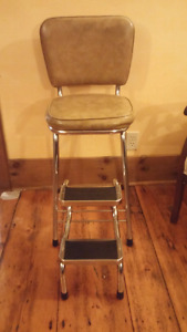 Vintage chair with folding steps