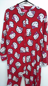 adult red Hello Kitty onesie pajama with attached feet. size L