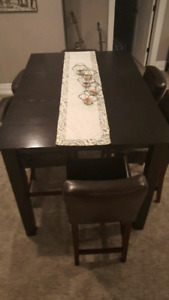 Dinec Bar Height Table and 6 Leather Chairs