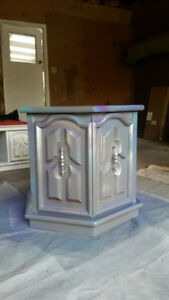 Wooden spray painted side tables w marble