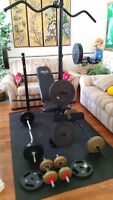 Bench Press with 180 Lbs of Weight plus Extras.