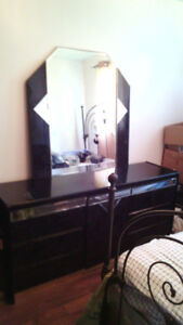4 Piece black & grey marble dresser set/mirror&lots of storage!
