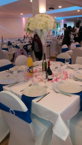 Mariage, decoration, nappes, housses, chaises blanches, rechauds
