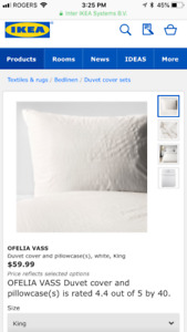 Ikea Ofelia Vass King duvet cover and pillow shams