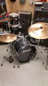 Sonic drum kit with upgraded cymbals