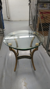 Glass and Wood Side Table with Wrought Iron Trim - Neutral Color