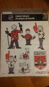 Ottawa Senators NHL Hockey Licensed Family Vinyl Window Sticker