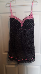 2X PINK AND BLACK BABYDOLL LINGERIE