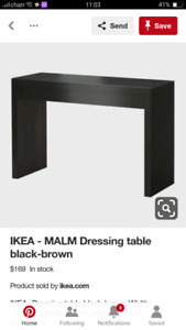 Ikea Malm Vanity black brown dresser makeup table study desk