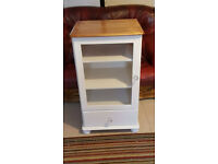''Antique White'' Glass Display Cabinet / Hi Fi Unit , crystal knobs, with FREE gift