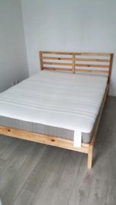 Ikea Tarva Queen Bedframe + Queen Spring Mattress