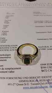 GOLD plated gemstone ring Stamped SILVER