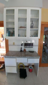 Granite top server/credenza+matching glass cabinets for kitchen