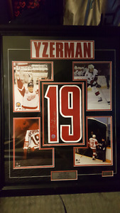 Autographed YZERMAN Jersey #19 Framed with 4 Collectible Photos