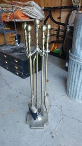 Vintage Brass Coloured Fireplace Set