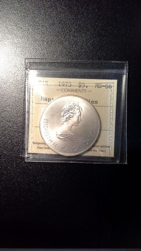 1973 Canadian Silver $5 Montreal Olympics Error Coin