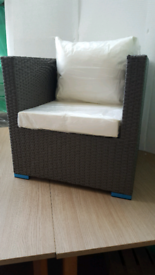 New Rattan effect set sofa chair. footstool and coffee table L/grey