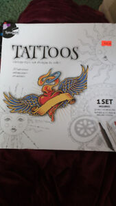 Brand NEW Tattoos vintage style art designs to colour book