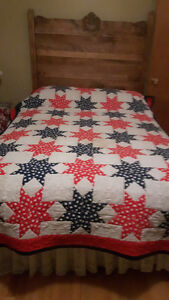 Hand quilted - Red, White and Blue double bed quilt