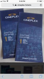Cineplex movie tickets for sale