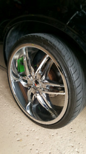 22 inch Chrome Wheels and Tires