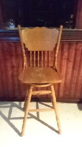 2 Oak Swivel Bar Stools with Backs-Good Condition - $50 for Pair