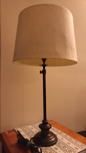 Two modern lamps with black bases