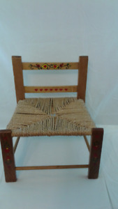Vintage Wood and Rope Seat Ladder Back Child's Chair