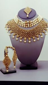 Indian Bollywood Jewellery New Kundan Pearl Rhinestone Double Ch