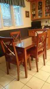 Solid Wood Table Set Plus glass top - Need Gone! St. John's Newfoundland image 2