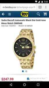 SEIKO Recraft Automatic Black Dial Gold-tone Men's Watch - New London Ontario image 2