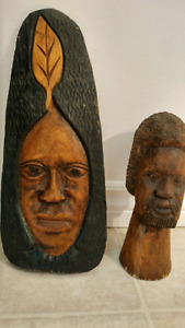2 hand carved wooden decorative pieces