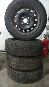 4 goodyear nordic winter tires balanced on rims 185 60 14