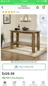 Counter-height wooden table