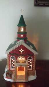 "17"" Earthenware Lighted Church"