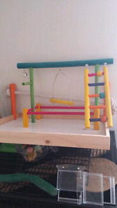 Bird table top play stand and accessories