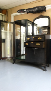 Antique claw foot display cabinet going at a bargain