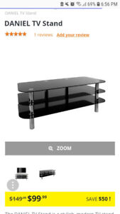 2 Black Glass TV Stand Coffee Tables