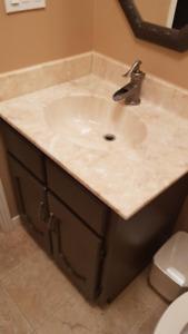 bathroom vanity w/ marble sink/top  (tap not incl)