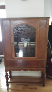 ANTIQUE TABLE, CHINA CABINET AND BUFFET