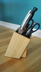 Wooden Knife Block with Removable/Washable Insert