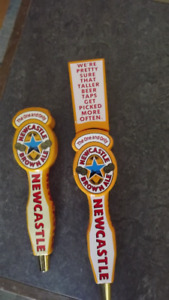 BRITISH BEER TAP HANDLES:NEWCASTLE ALE,HARPS,GUINNESS,CAMERONS